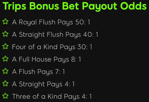 Trips Bonus Bet Payout Odds for Live Dealer Holdem