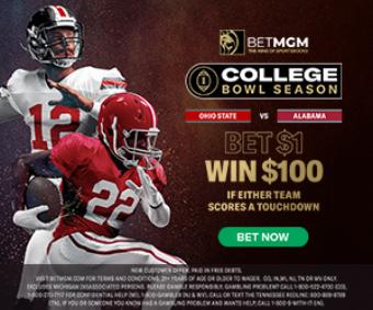 Bet $1 Win $100 BetMGM NCAA Football National Championship Promo