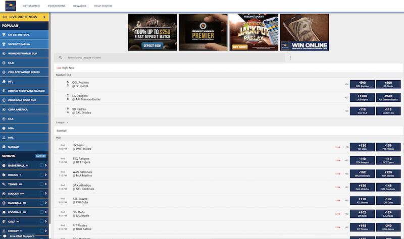BetRivers Online Sportsbook Interface