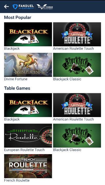 FanDuel Casino PA Games