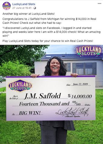LuckyLand Real Cash Winner JM Saffold