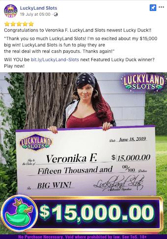 LuckyLand Slots Winner Veronika