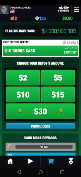 Skillz Deposit Options