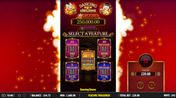 Dancing Drums Free Spins Feature