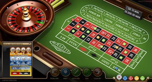 Unibet Casino Video Roulette Table