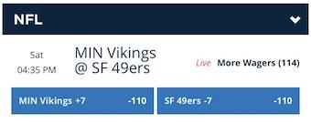 Vikings 49ers Odds