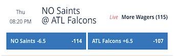 Week 13 Saints Odds