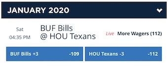 Wild Card Odds Bills-Texans